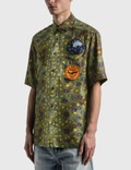 Burberry Graphic Appliqué Fish-scale Print Shirt Olive Ip Ptn Men