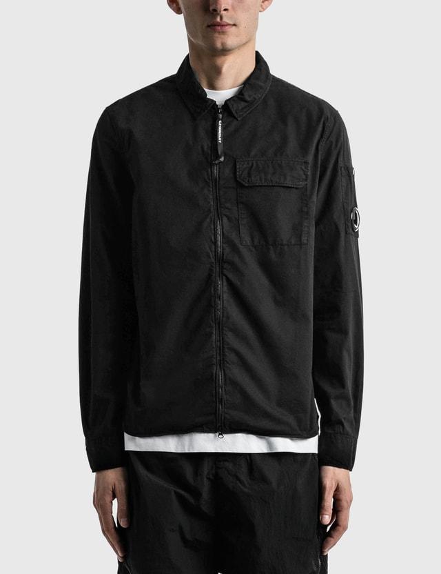CP Company Gabardine Garment Dyed Utility Shirt Black Men