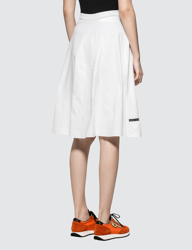 Prada A-Line Jersey Skirt White Women