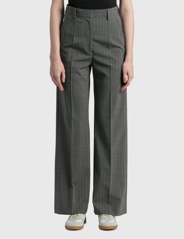 MM6 Maison Margiela Pinstripe Pants Grey Melange - White Stripe Women
