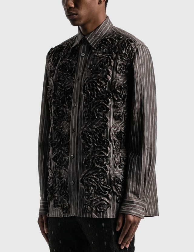 Sasquatchfabrix. Tape Embroidery Long Sleeve Shirt Brown Stripe Men