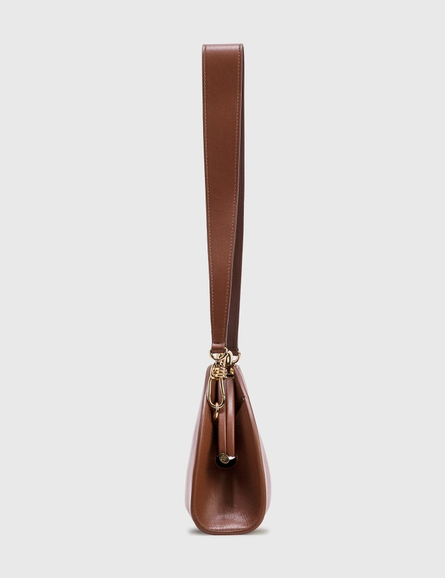 Nanushka Moon Vegan Leather Shoulder Bag Red Tan Women