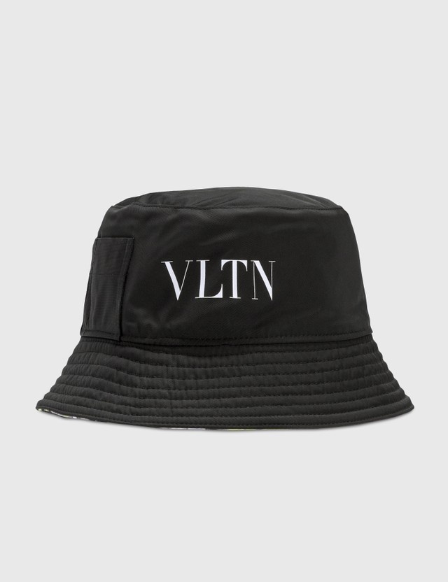 Valentino Valentino Garavani VLTN Rubber Tag Reversible Bucket Hat Nero-giallo Fluo/nero-bianco/nero/bianco Men