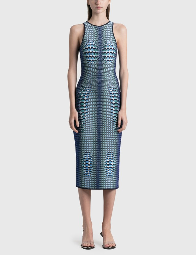 Marine Serre Moonfish Skin Jacquard Knit Tube Dress