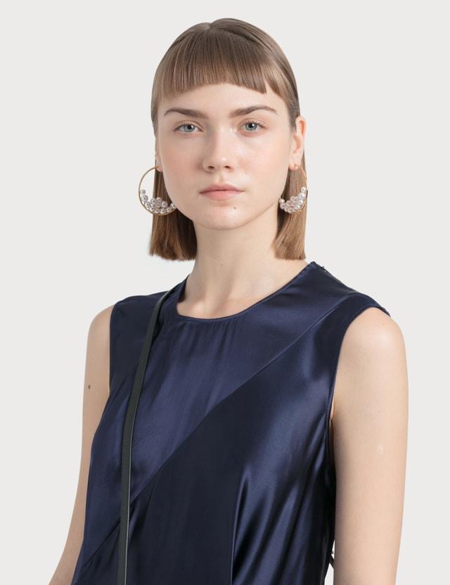 Loewe Sleeveless Satin Dress Navy Blue Women