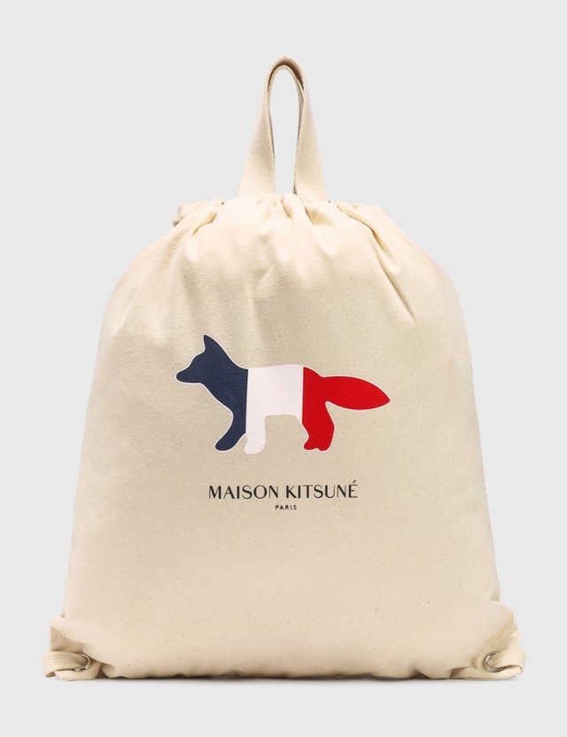 Maison Kitsune Tricolor Fox Tote Backpack Ecru Women