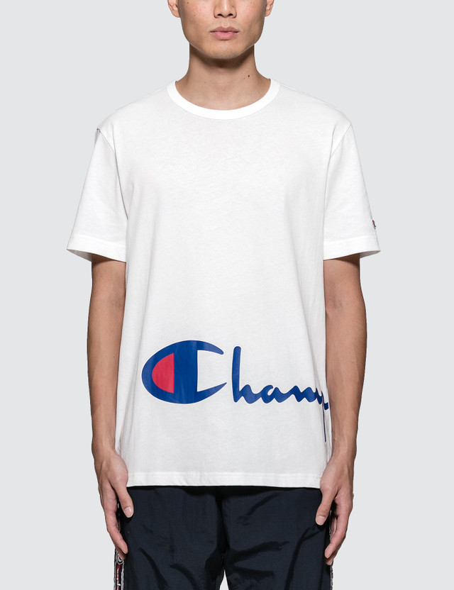 Champion Reverse Weave Oversized Script Logo S/S T-Shirt White/blue Men