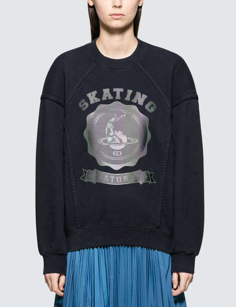 메종 마르지엘라 Maison Margiela Open End Fleece Sweater With Reflective Logo