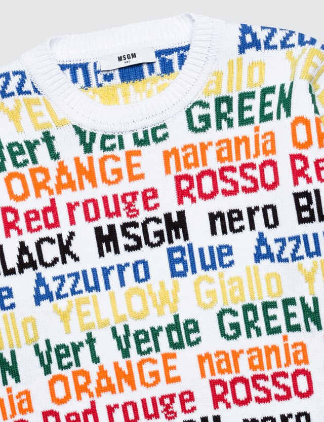 MSGM Colorful Letterings Cotton Knitted Sweater