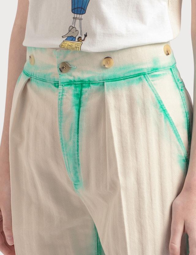 Lanvin Twisted Stitches 7/8 Denim Pants Emerald Green Women