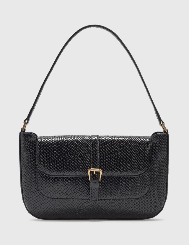 BY FAR Miranda Black Snake Print Leather Bag
