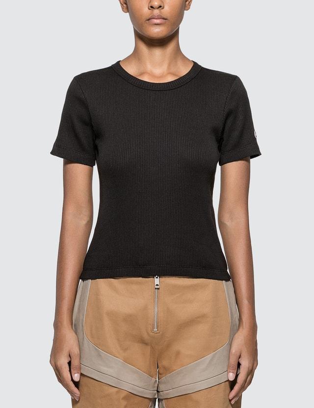 Champion Reverse Weave Ribbed Cropped T-shirt Black Women