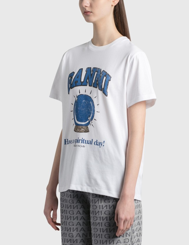 Ganni Crystal Ball Basic Cotton Jersey T-Shirt