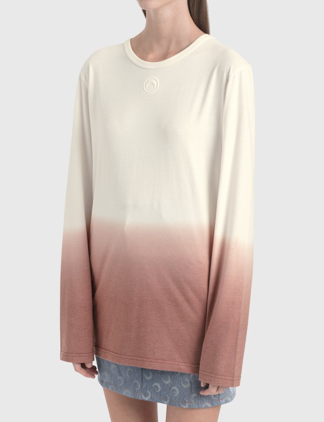 Marine Serre Dip Dye Long-sleeve T-Shirt 1 Broken White With Print Women