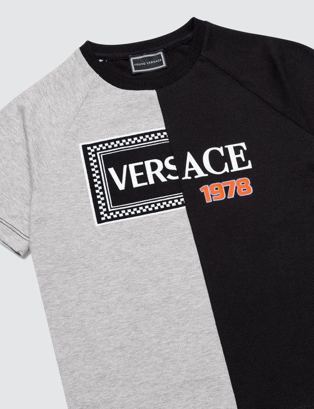 Versace Split Box Logo T-Shirt Nero+grigio Mel Kids