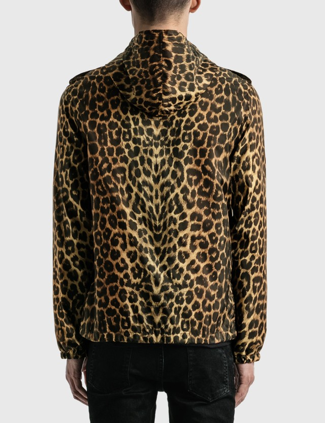 Saint Laurent Leopard-Print Windbreaker Fauve Men