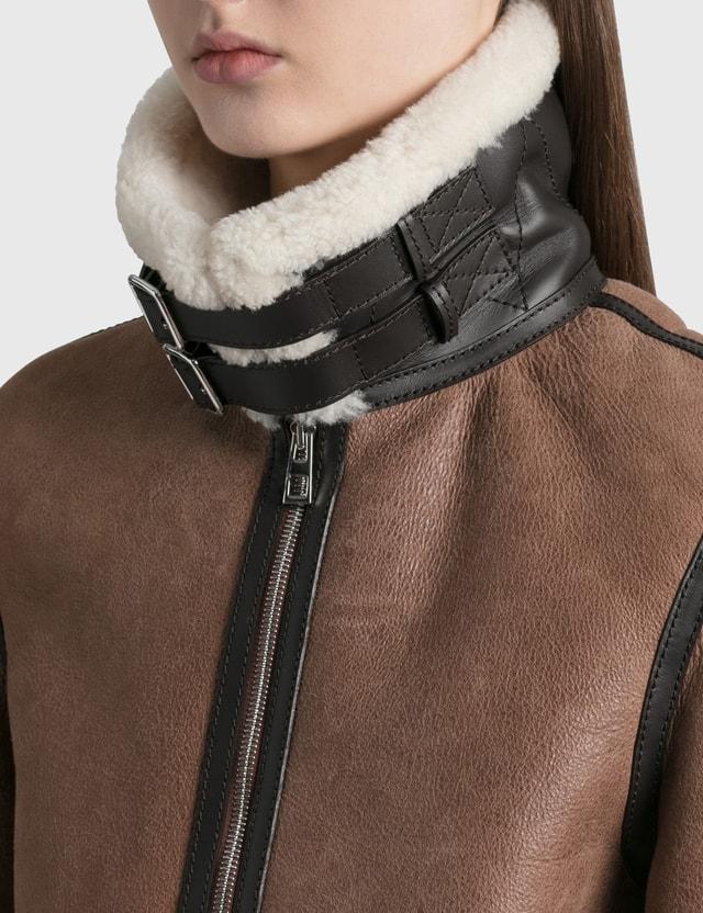Loewe Shearling Aviator Jacket Dark Brown Women