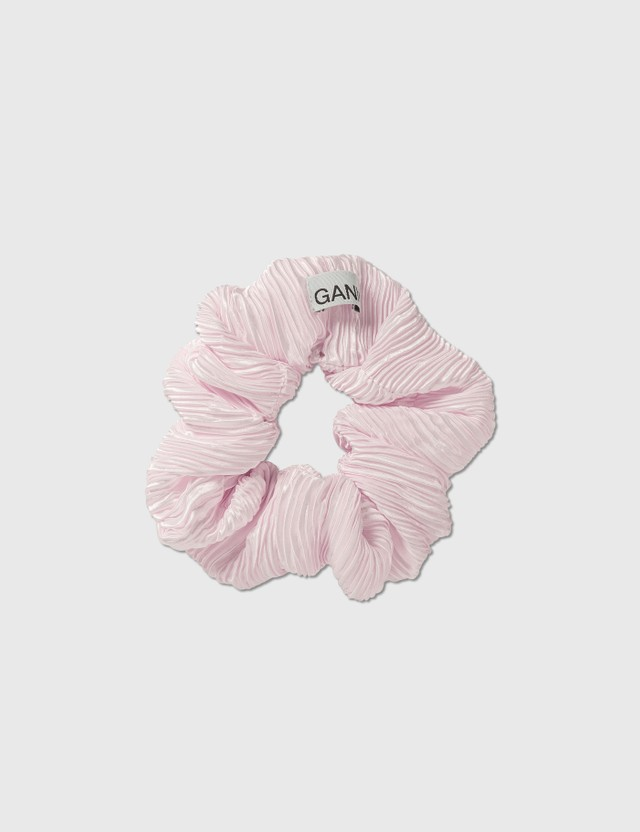 Ganni Pleated Satin Hair Band Pale Lilac Women