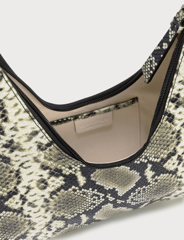 BY FAR Amber Snake-Print Leather Bag