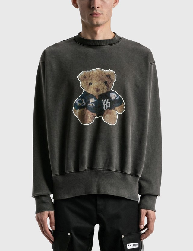 We11done Denim Jacket Teddy Sweatshirt Charcoal Men