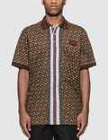 Burberry Monogram Stripe Print Cotton Piqué Polo Shirt 사진
