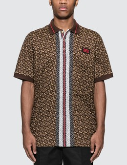 Burberry Monogram Stripe Print Cotton Piqué Polo Shirt