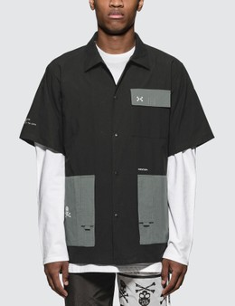 C2H4 Los Angeles C2H4 x Mastermind Japan Robotics Logo Print Utility Pocket Shirt