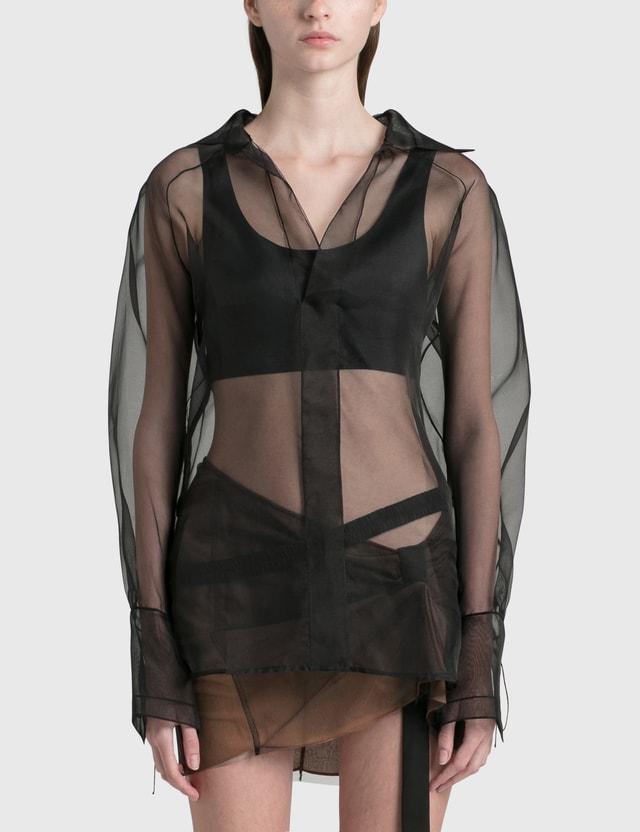 Nensi Dojaka Oversized Sheer Pullover Shirt Black Women