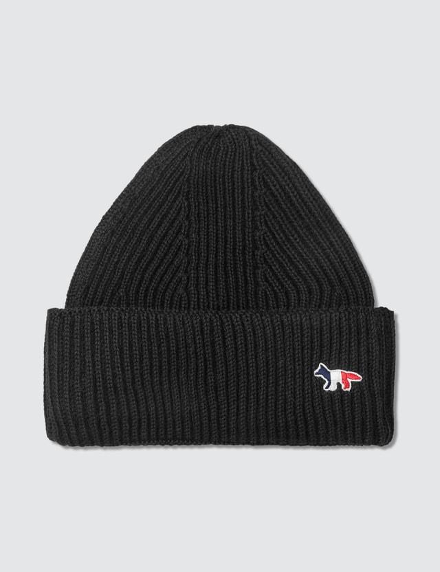 Maison Kitsune Tricolor Fox Patch Ribbed Hat