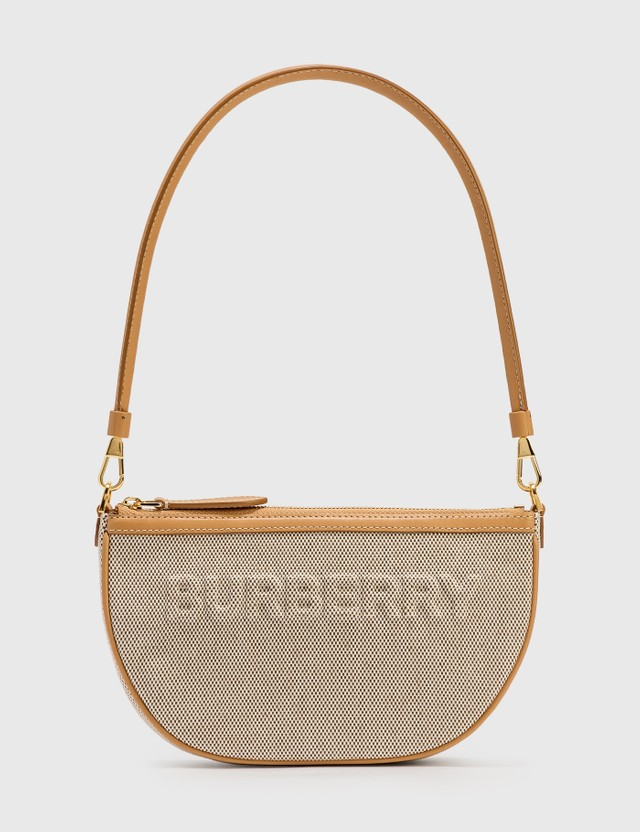 Burberry Embossed Logo Canvas and Leather Olympia Pouch