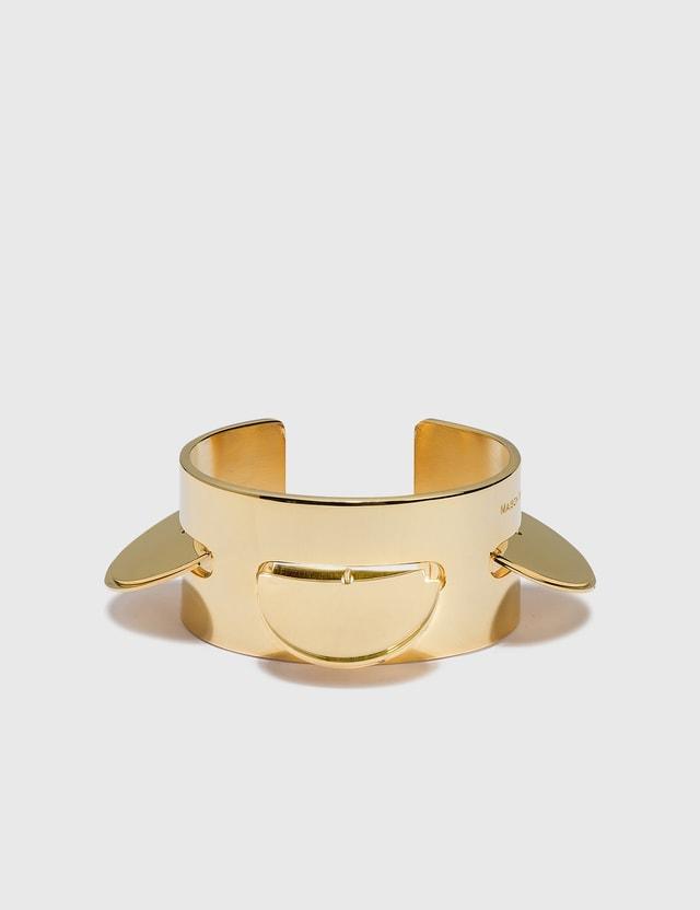 MM6 Maison Margiela Round Plate Bracelet Yellow Gold Plating Women