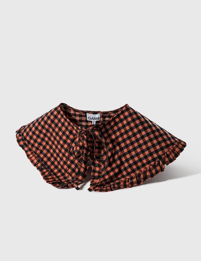 Ganni Seersucker Check Collar