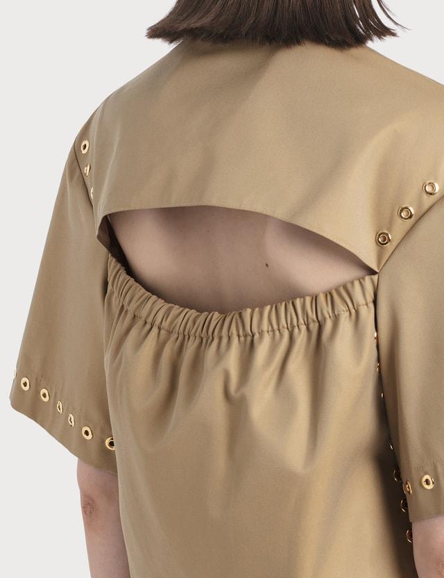 KOCHÉ Cropped Eyelette Shirt