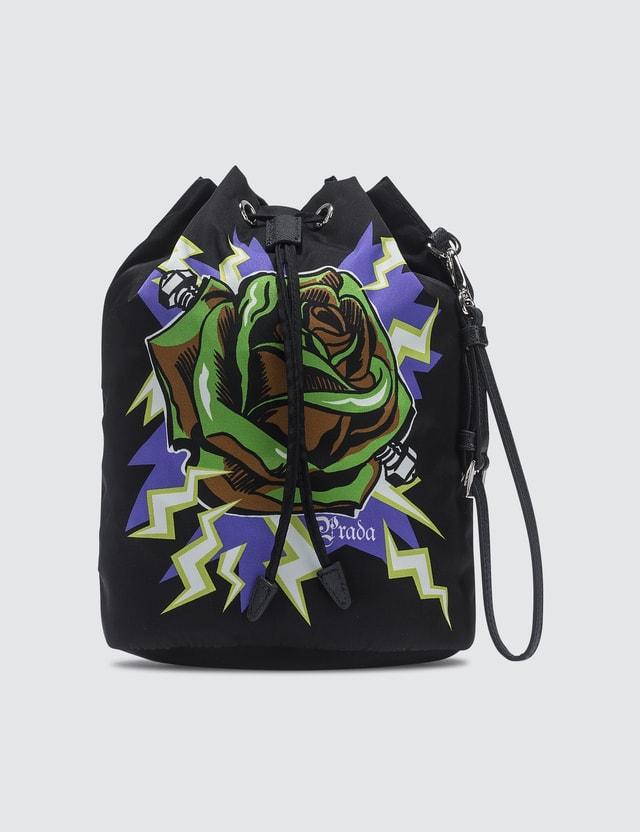 Prada Rose Print Nylon Drawstring Wash Bag