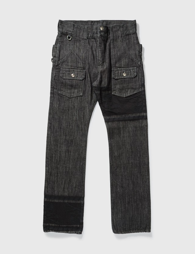 Mastermind Japan Mastermind Japan One Washed Back Double Waist Jeans Black Archives