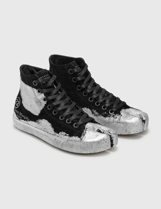 Maison Margiela Tabi High Top Sneakers Silver Black Women