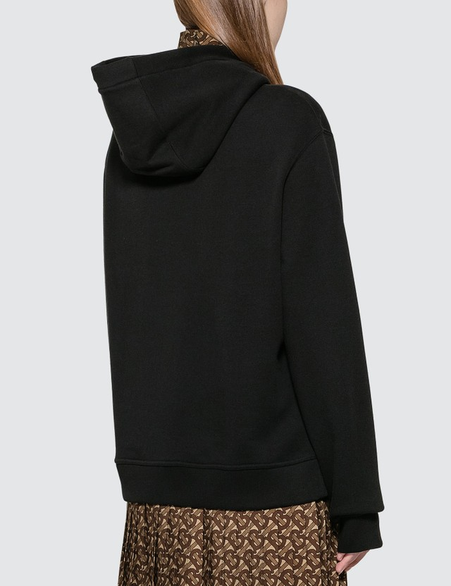 Burberry Flag Appliqué and Print Cotton Oversized Hoodie Black Women