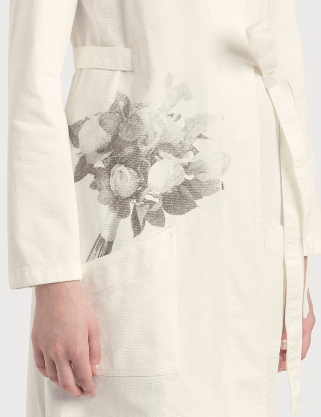 MM6 Maison Margiela Rose Print Cape Off White Women