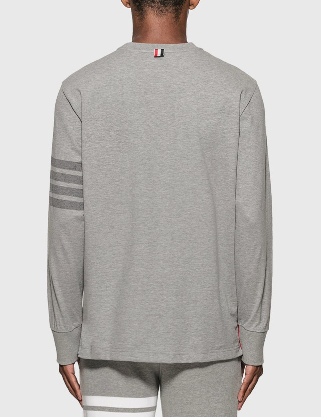 Thom Browne 4-Bar Rugby Long Sleeve T-Shirt Light Grey Men