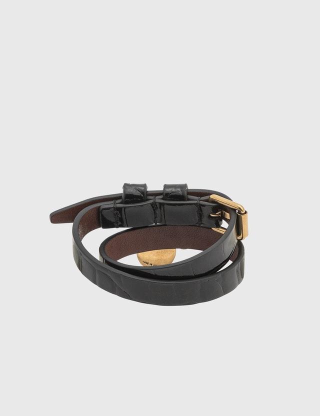 Alexander McQueen Leather Double Wrap Skull Bracelet Black Women