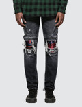 Marcelo Burlon Light Wash Skull Biker Jeans Picture