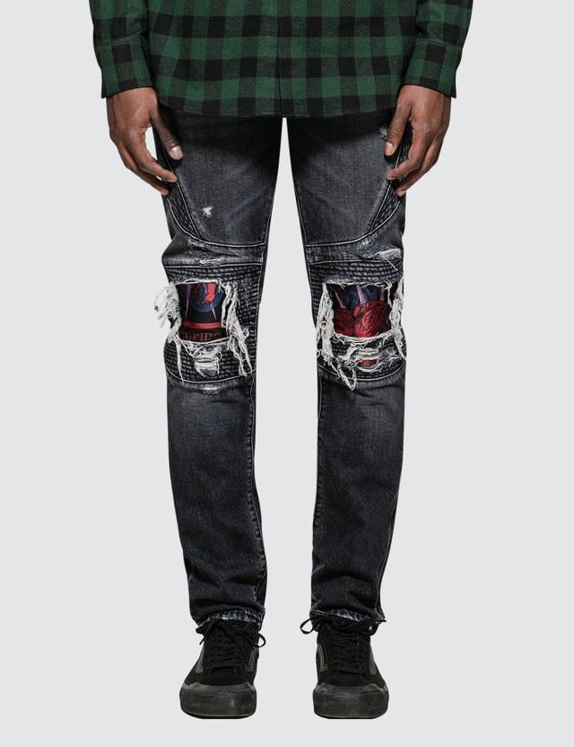 Marcelo Burlon Light Wash Skull Biker Jeans