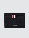 Thom Browne Pebble Grain and Calf Leather Single Card Holder with RWB Diagonal Stripe Picture
