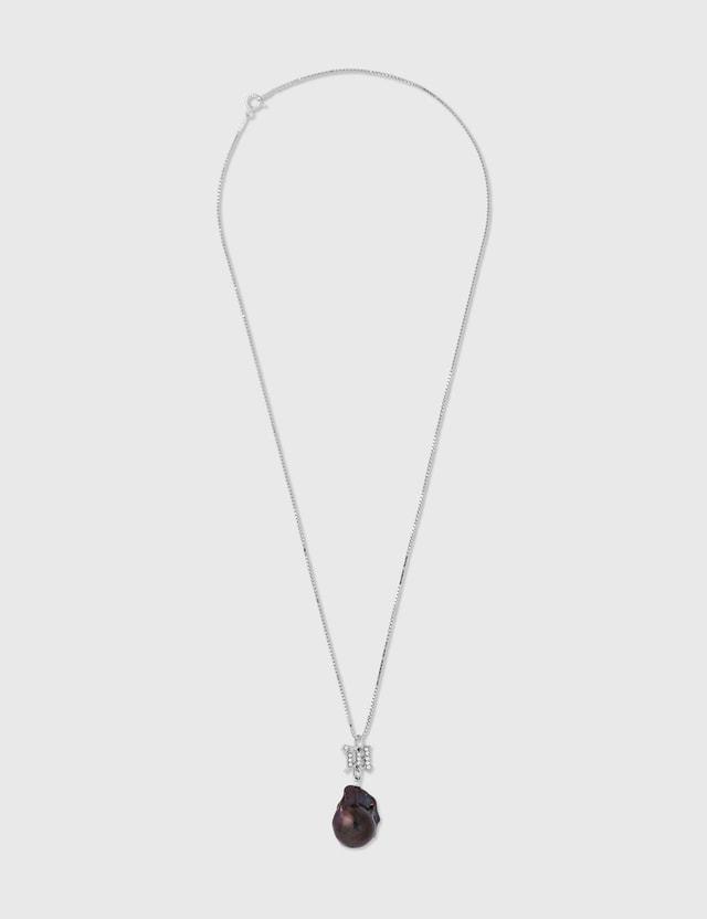 Misbhv Crystal Monogram Baroque Pearl Navy Pendant Dark Pearl Women