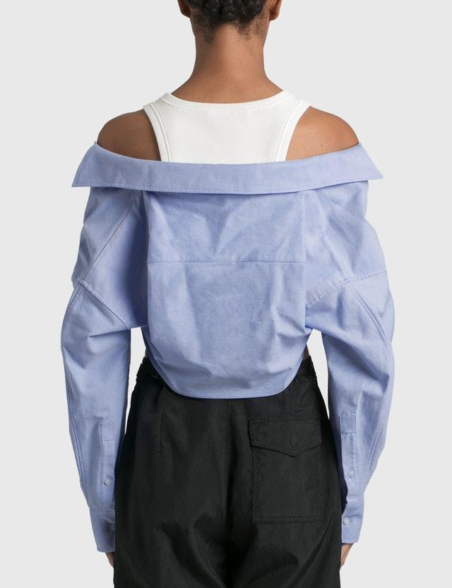 Alexander Wang.T Bi-layer Ribbed Tank With Oxford Shirting Snow White/blue Women