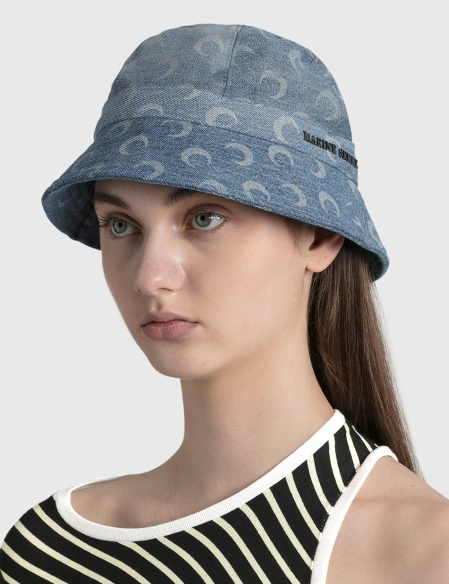 Marine Serre Moon Denim Bell Hat 06 Dark Medium Blue Women