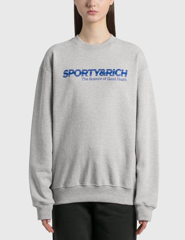 Sporty & Rich 사이언스 오브 굿 헬스 크루넥 Heather Gray/blue Print Women
