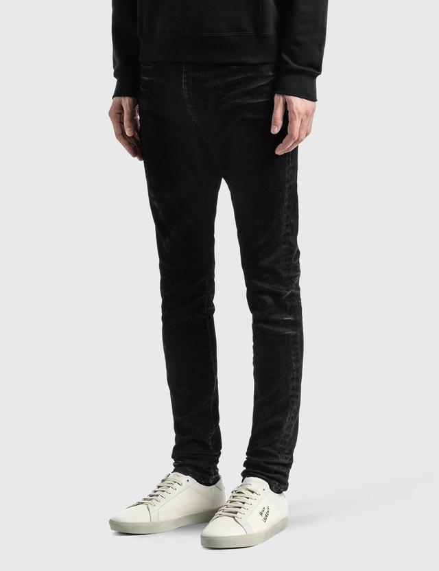 Saint Laurent Stretch Denim Skinny Jeans Black Light Coated Men