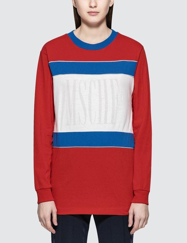 MISCHIEF Color Block L/S T-Shirt Red Women