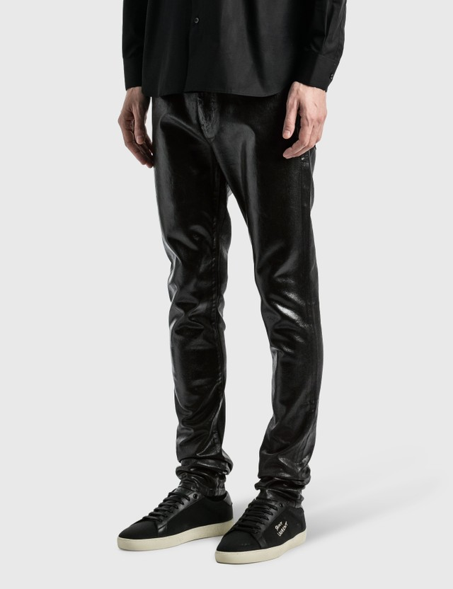 Saint Laurent Medium Waist Skinny Jeans Oily Coated Black Men